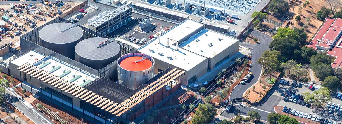 Aerial view of the new Central Energy Facility at Stanford