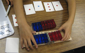 Child learning negative numbers with new approach