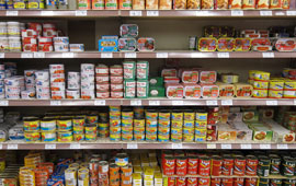 Canned goods on store shelf